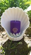 Purple Beeswax Pillar Candle with Real Purple Seashell
