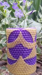 Purple and Natural-Colored Beeswax Contrast Pillar